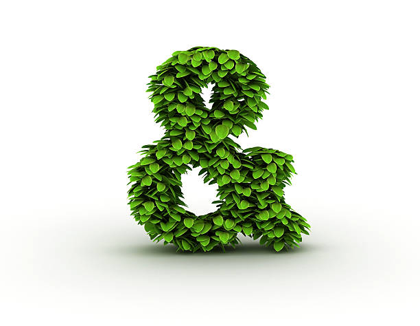 ampersand sign with leaves - ampersand stock pictures, royalty-free photos & images