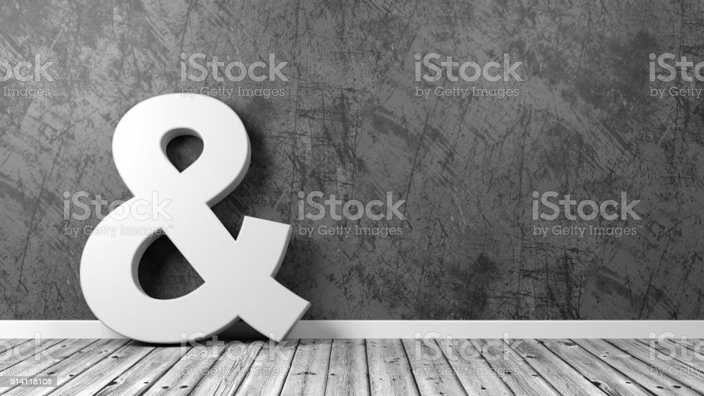 Ampersand Symbol on Wooden Floor Against Wall stock photo