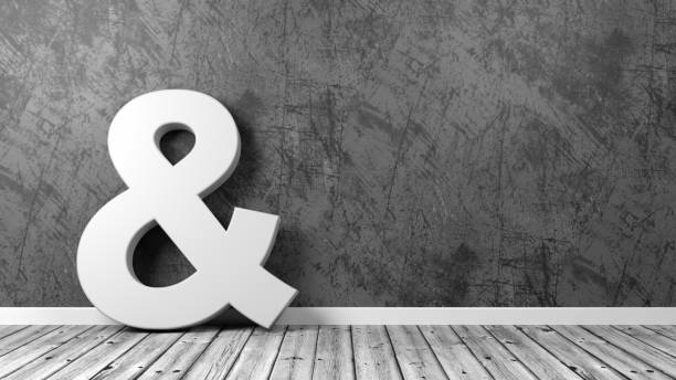 ampersand symbol on wooden floor against wall - ampersand stock pictures, royalty-free photos & images
