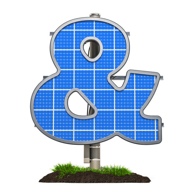 Ampersand symbol shaped in solar panel, 3D rendering isolated on white background stock photo