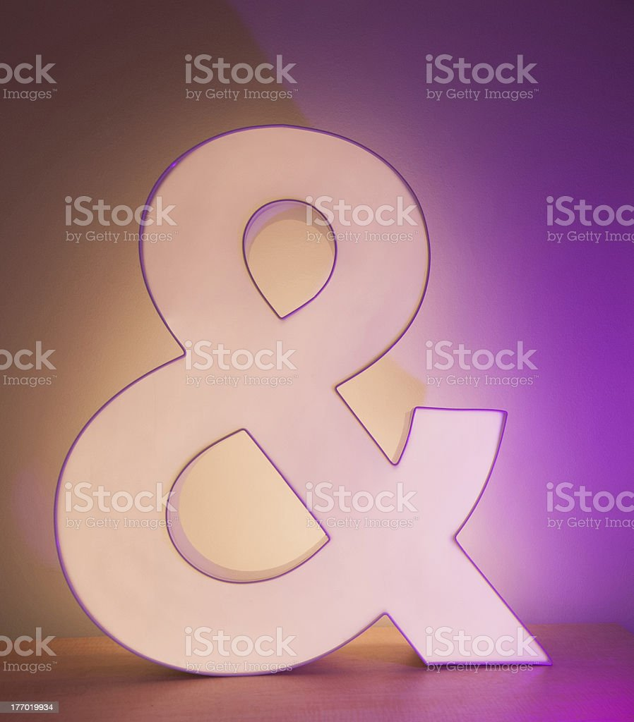Ampersand  with Purple Light. stock photo