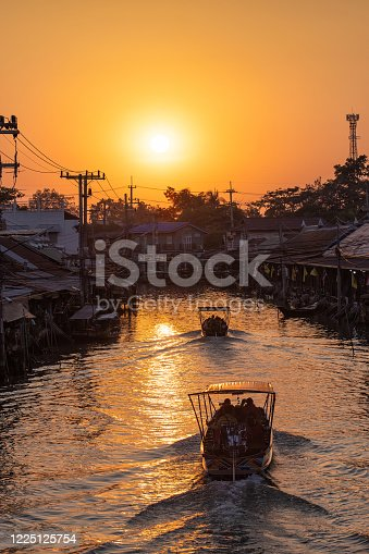 Amphawa floating market, the most famous of floating market at sunset and cultural tourist destination