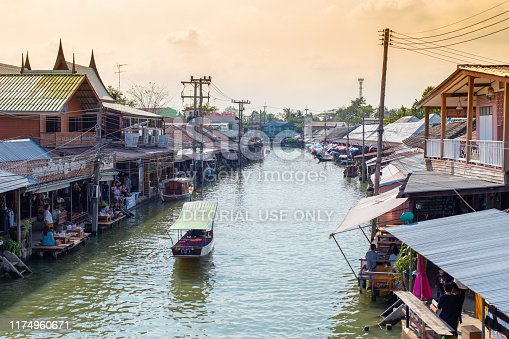 Amphawa floating market with traditional Mae Klong river side village around more than 500 years canals beautiful travel location for tourist. 23 January 2017. Amphawa, Samut songkhram, THAILAND