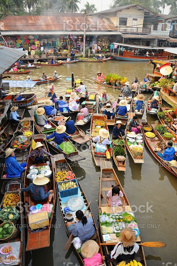 Amphawa Floating market,Thailand royalty-free stock photo