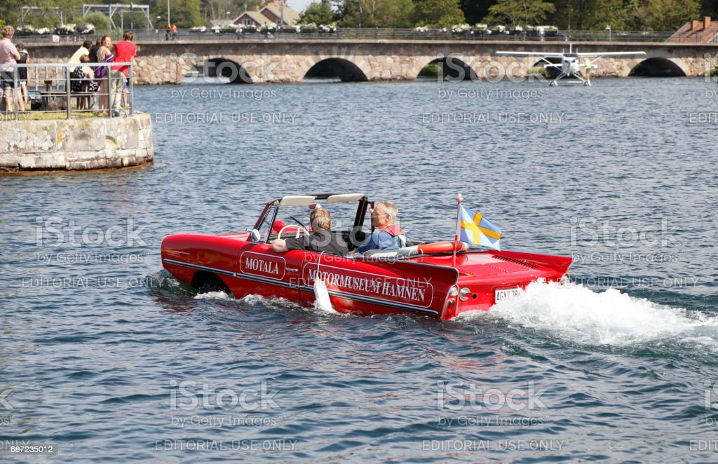Amphicar in water stock photo