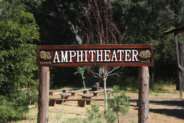 Amphitheater and sign stock photo