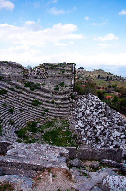 amphitheater and village stock photo