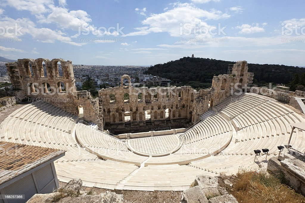 Amphitheater at Acropolis, Athens. stock photo