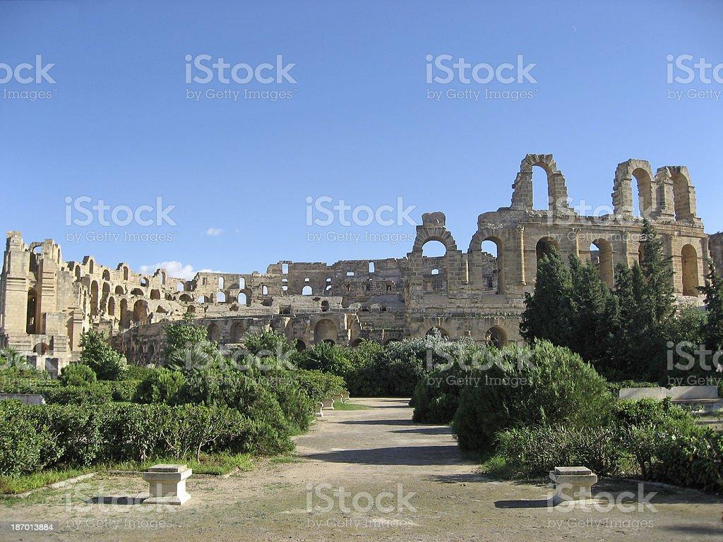 Amphitheater at El Djem stock photo