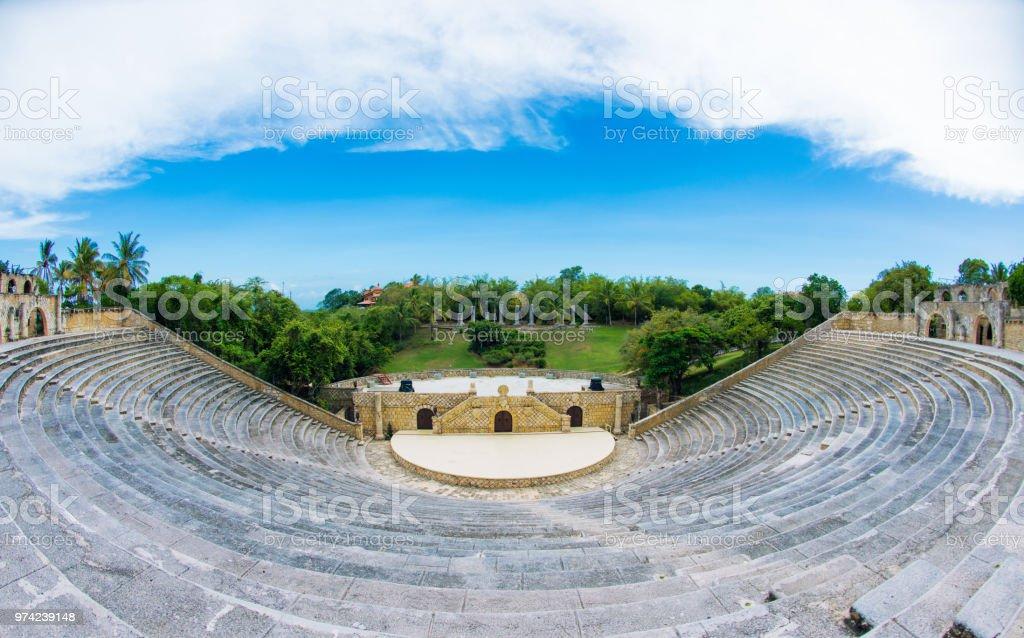 Amphitheater in ancient village Altos de Chavon - Colonial town reconstructed in Casa de Campo, La Romana, Dominican Republic. tropical seaside resort стоковое фото