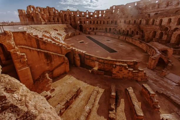 amphitheater von el djem, tunis, sahara - urlaub in tunesien stock-fotos und bilder