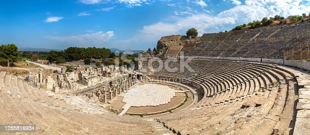 Panorama of Amphitheater (Coliseum) in ancient city Ephesus, Turkey in a beautiful summer day