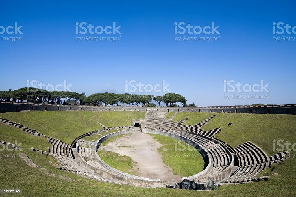 Amphitheater in Pompeii, Italy with a sky view royalty-free stock photo