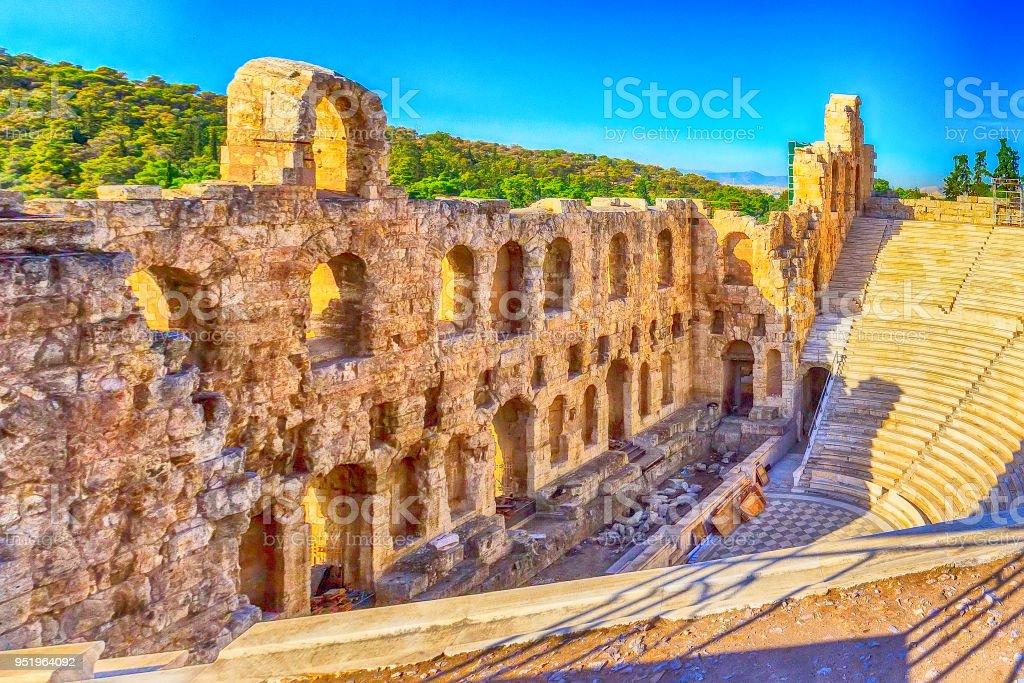 Amphitheater of Acropolis in Athens, Greece stock photo