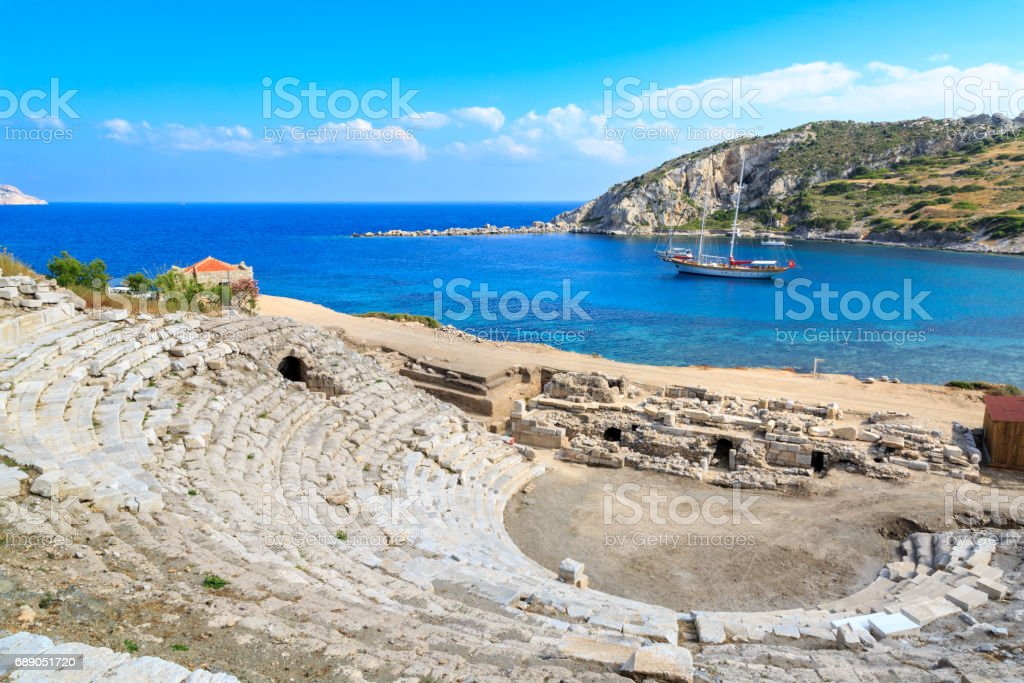 Amphitheater of ancient greek city knidos in Datca, Turkey stock photo