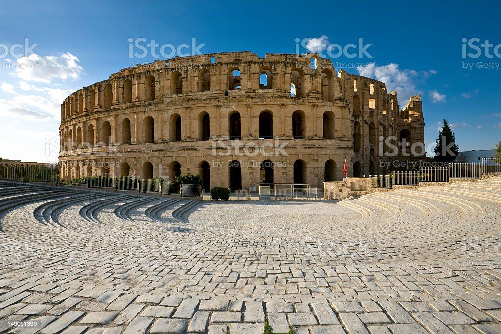 Amphitheater of El Jem on a sunny day stock photo