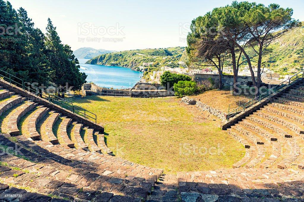 Amphitheater of Lipari island. Sicily. Italy stock photo