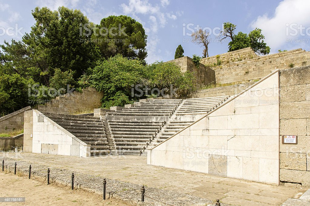 Amphitheater of the Acropolis in Rhodes stock photo