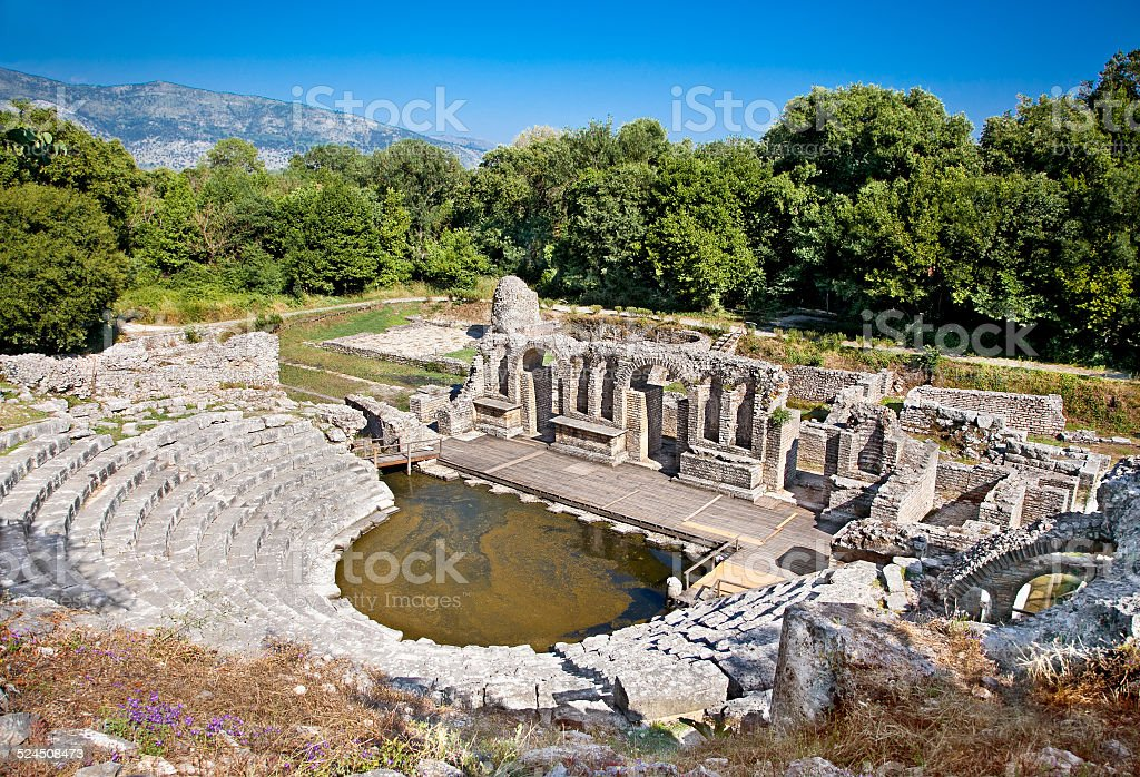 Amphitheater of the ancient Baptistery at Butrint, Albania. stock photo