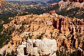 View of valley and rock formations from Inspiration Point in Bryce Canyon