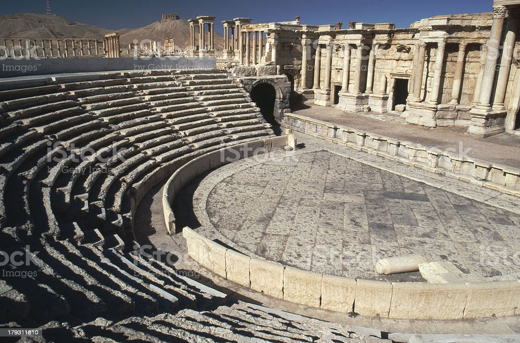 Amphitheatre at Palmyra Syria stock photo