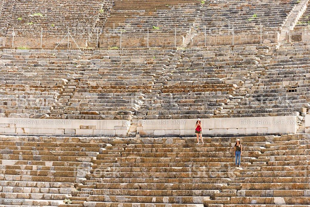 Amphitheatre of Ephesus ancient city. stock photo