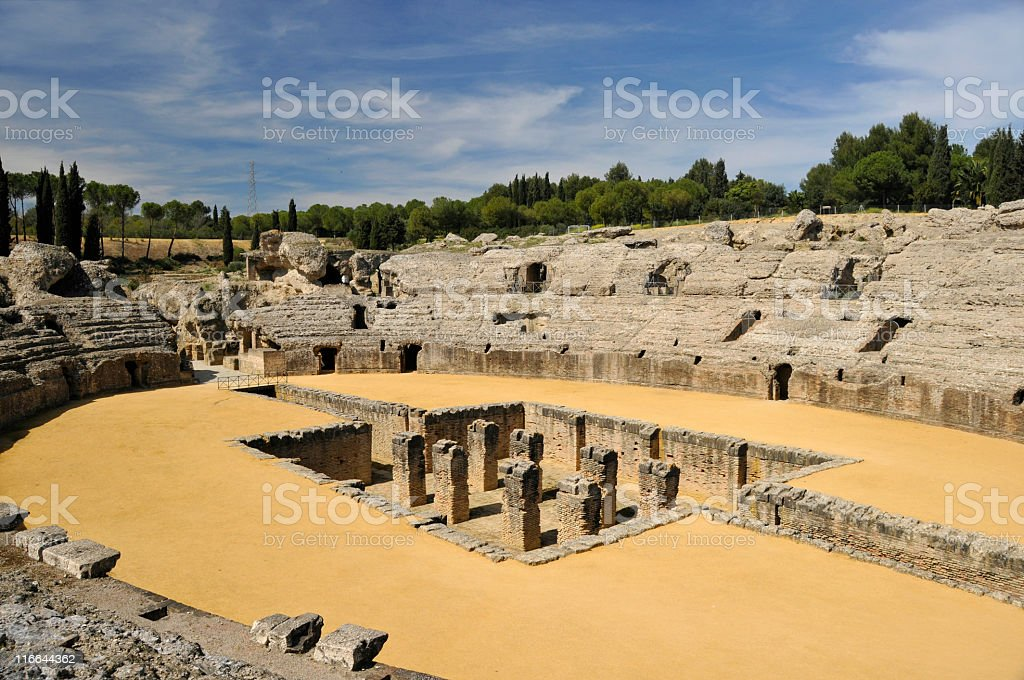 Amphitheatre of Itálica Archaeological Complex,Santiponce,Spain royalty-free stock photo