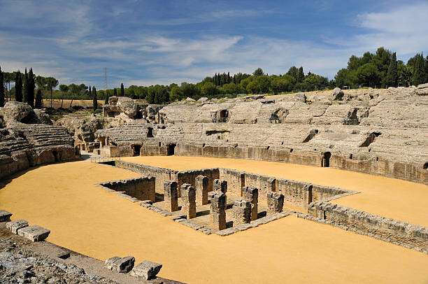 Amphitheatre of Itálica Archaeological Complex,Santiponce,Spain stock photo