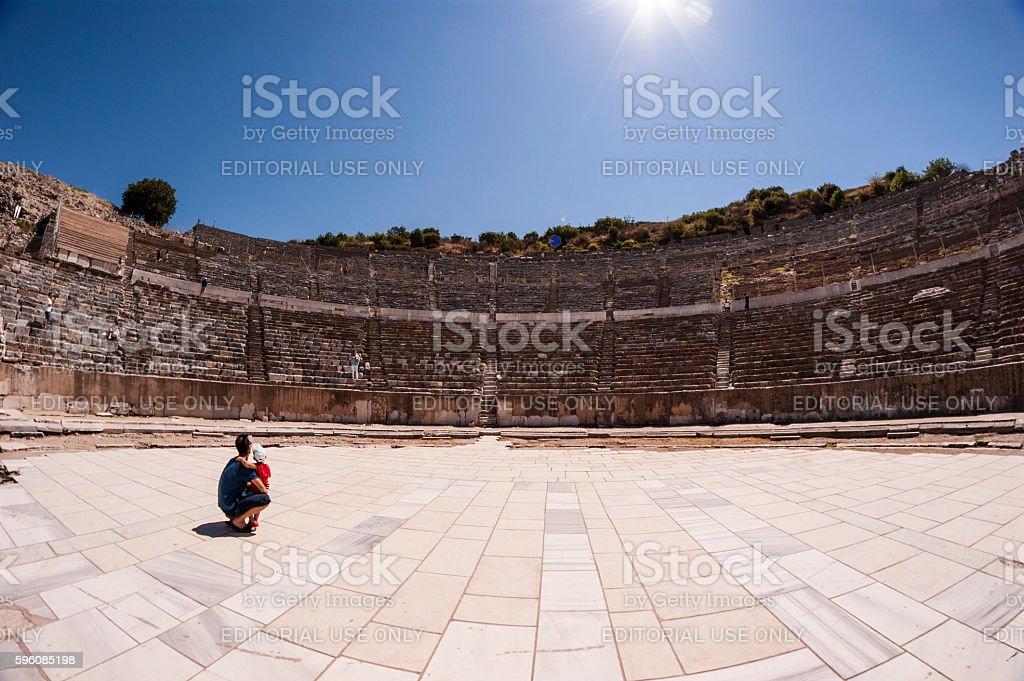 Amphitheatre of The ancient city of Ephesus stock photo