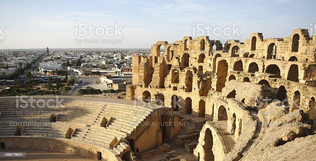 Amphitheatre with El Djem city skyline in Tunisia stock photo