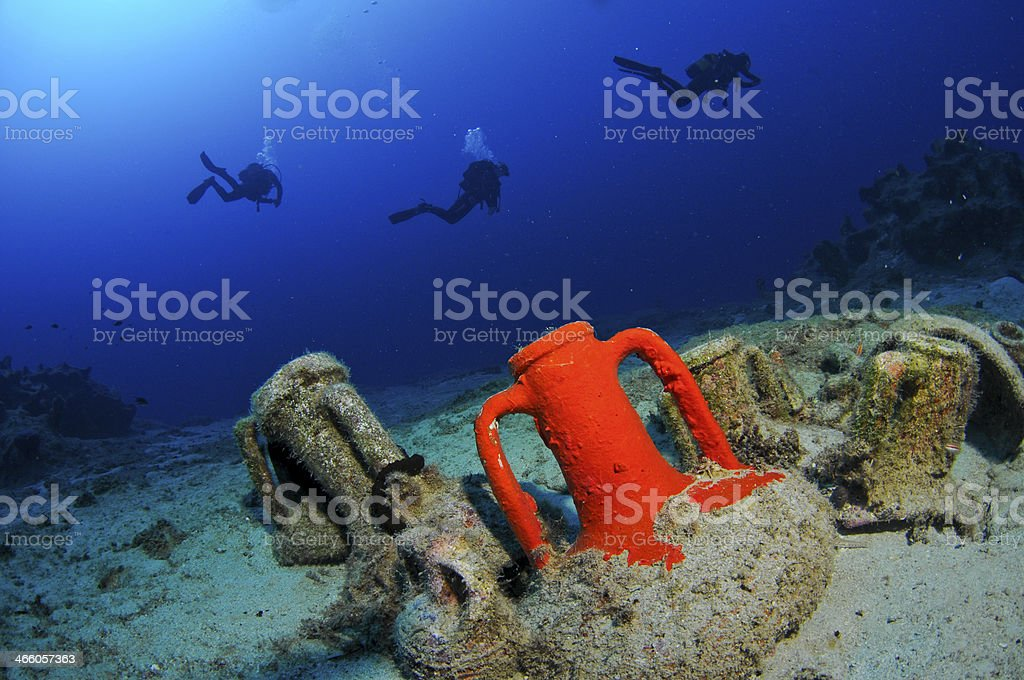 Amphora from ship wreck stock photo