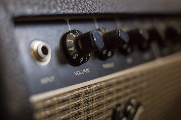 Amplificador de guitarra eléctrica stock photo
