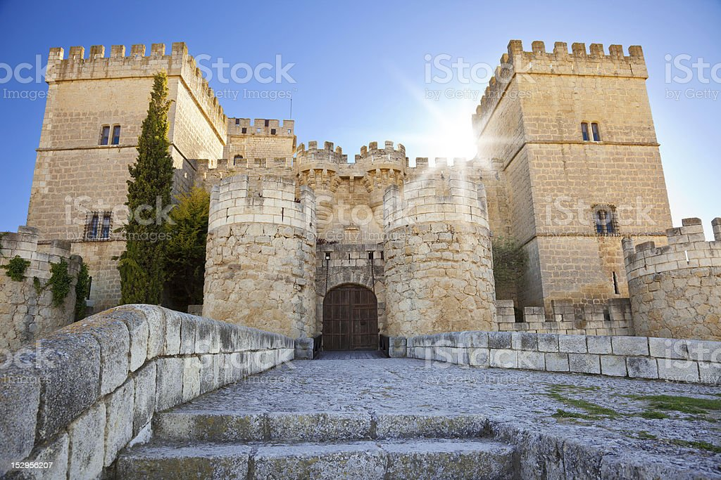 Ampudia Castle against sunlight stock photo