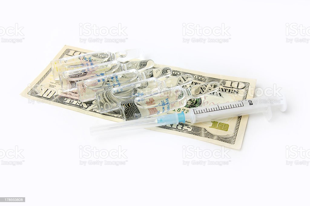 ampules with medicine and syringe royalty-free stock photo