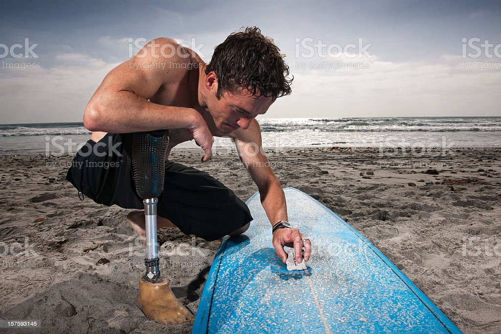 Amputee Surfer stock photo