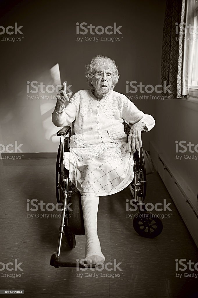 Amputee Woman in Nursing Home stock photo