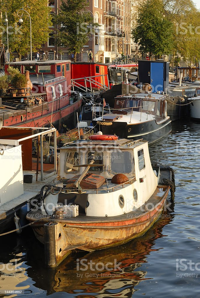 Amstel river in Amsterdam city royalty-free stock photo