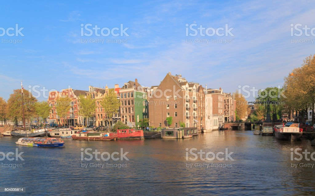 Amstel River in Amsterdam, Holland stock photo