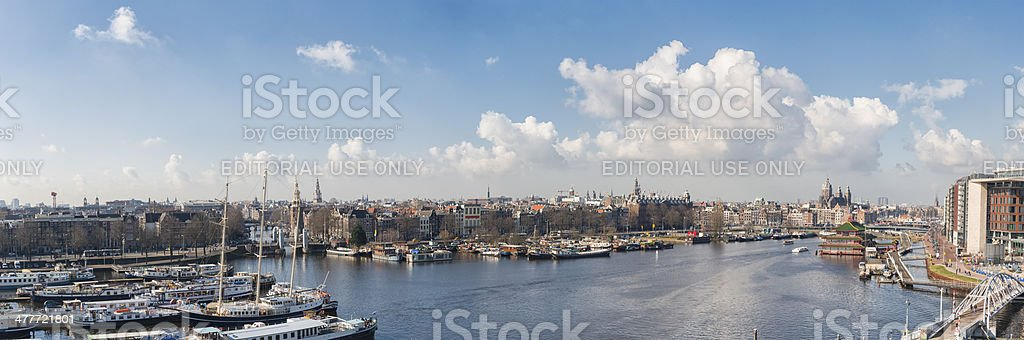 Amsterdam aerial view panorama stock photo