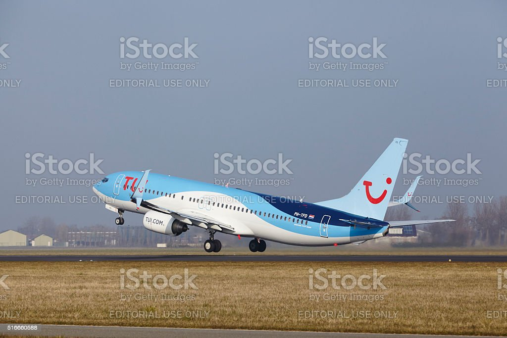 Amsterdam Airport Schiphol - Boeing 737 of TUI Airlines Netherlands stock photo