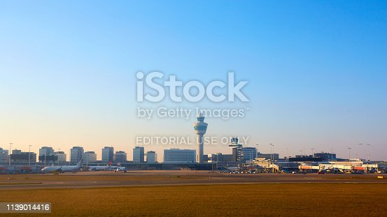 Amsterdam, Netherlands - March 11, 2016: Amsterdam Airport Schiphol in Netherlands. Schiphol  is the Netherlands' main international airport, located southwest of Amsterdam.