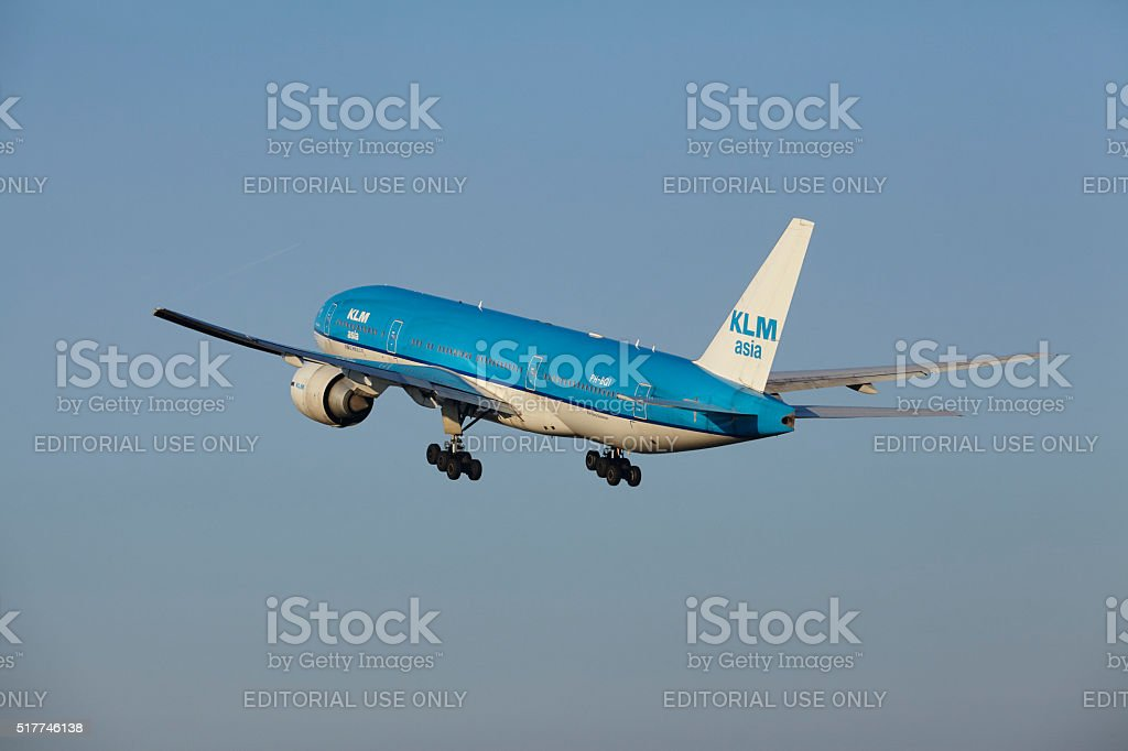 Amsterdam Airport Schiphol - KLM Boeing 777 takes off stock photo