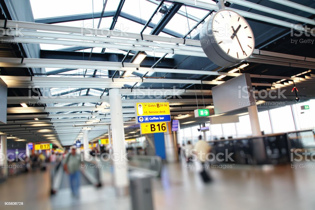 Amsterdam Airport Schiphol terminal interior, Netherlands stock photo