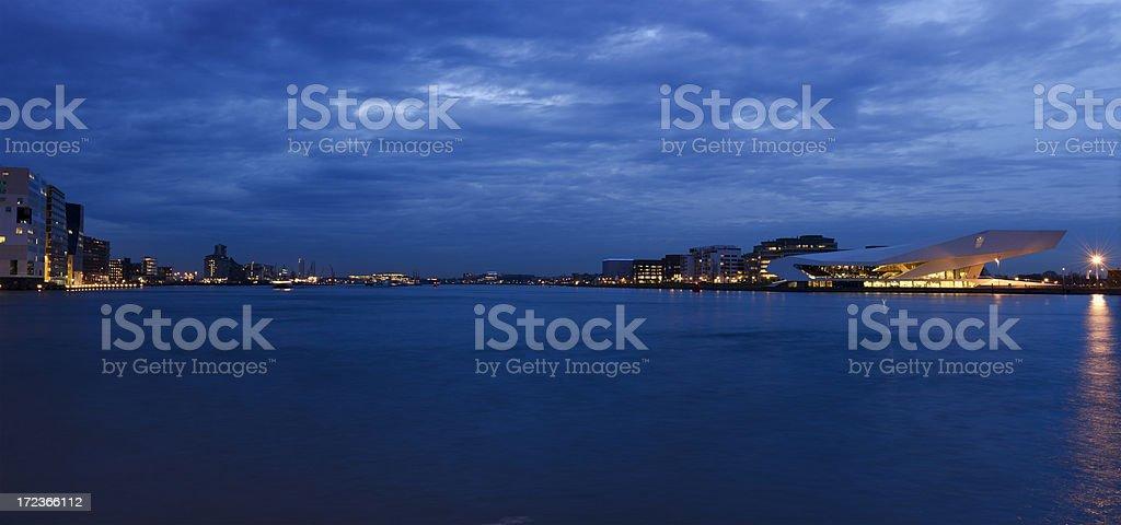 Amsterdam and the Ij panorama stock photo