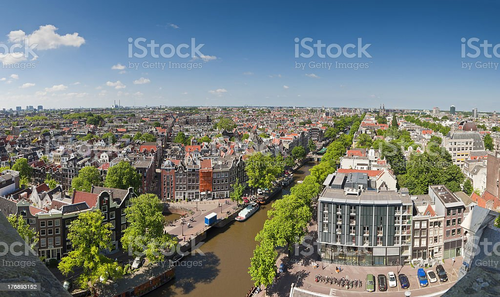 Amsterdam, Anne Frank House blue sky cityscape, Holland stock photo