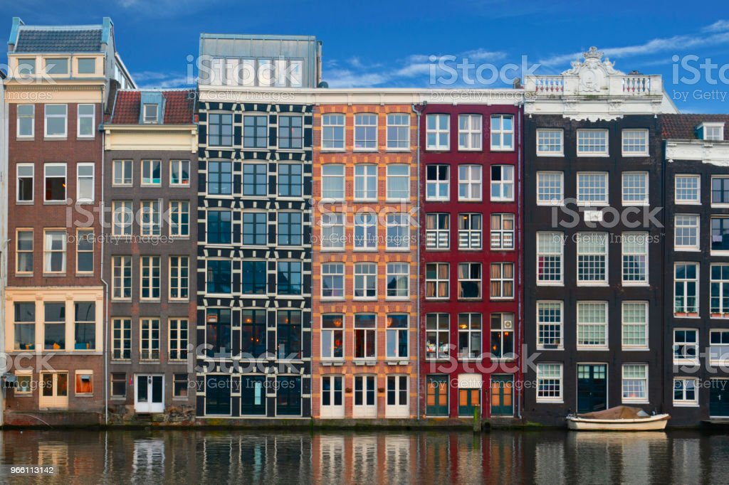 Amsterdam, Buildings Facades on Amstel - Стоковые фото UNESCO роялти-фри