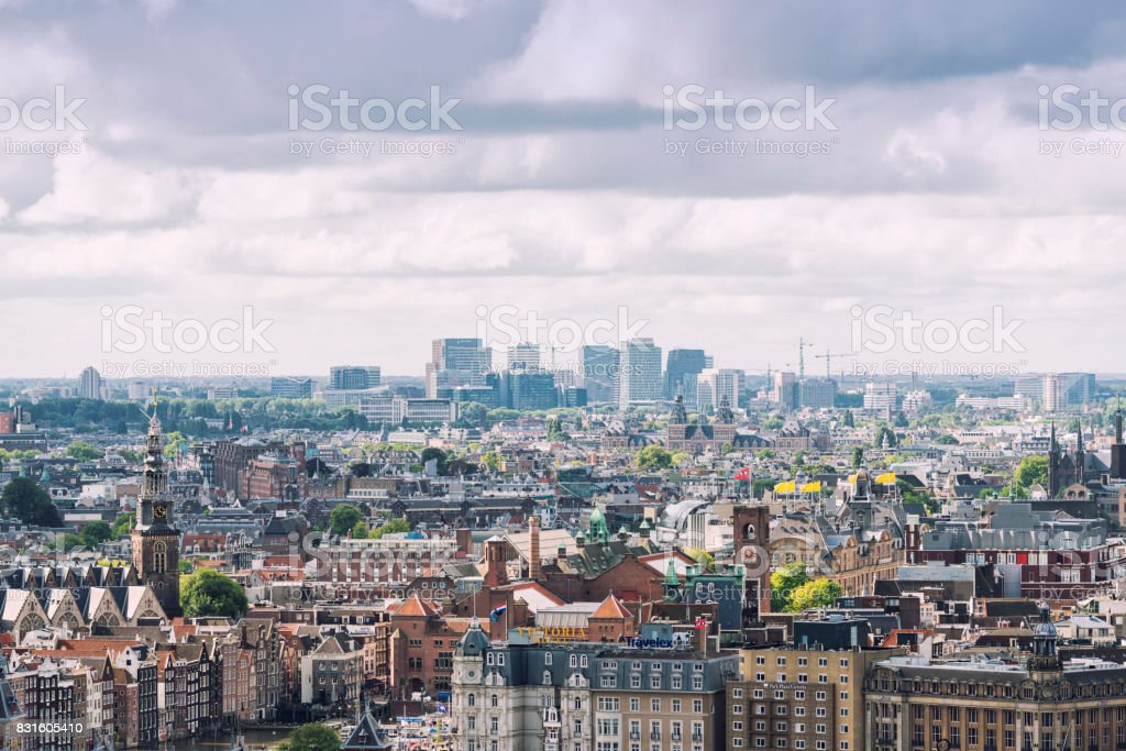 Amsterdam business district stock photo