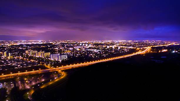 amsterdam by night, birds eye view from the sky - drone amsterdam bildbanksfoton och bilder