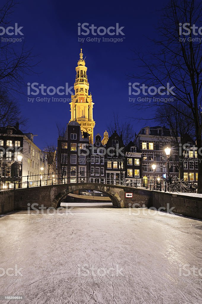 Amsterdam by night in the winter stock photo