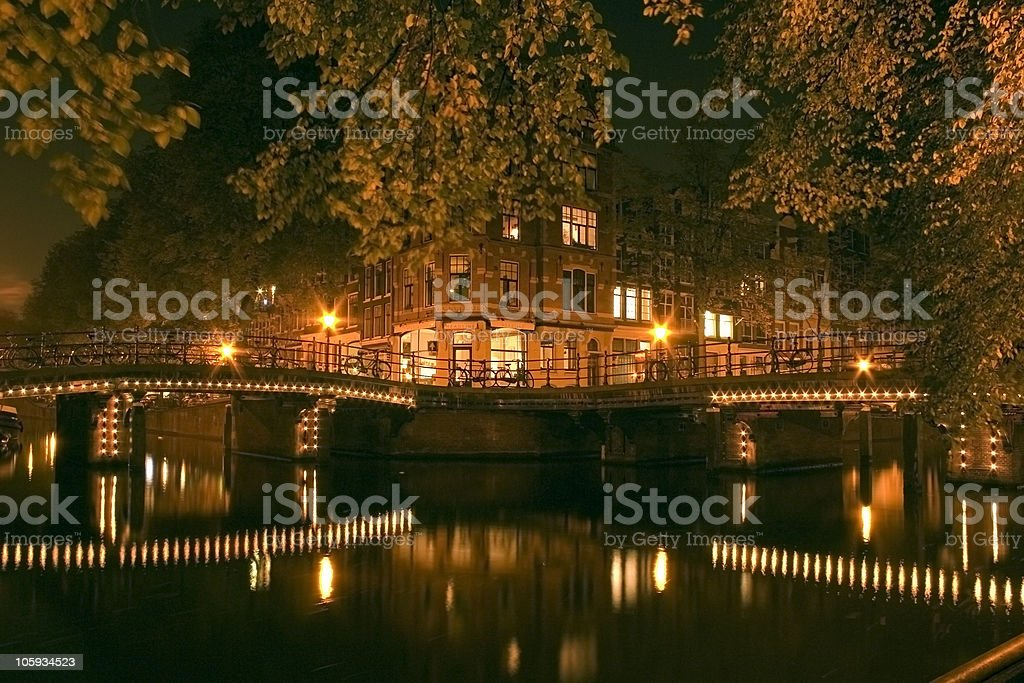 Amsterdam by night royalty-free stock photo
